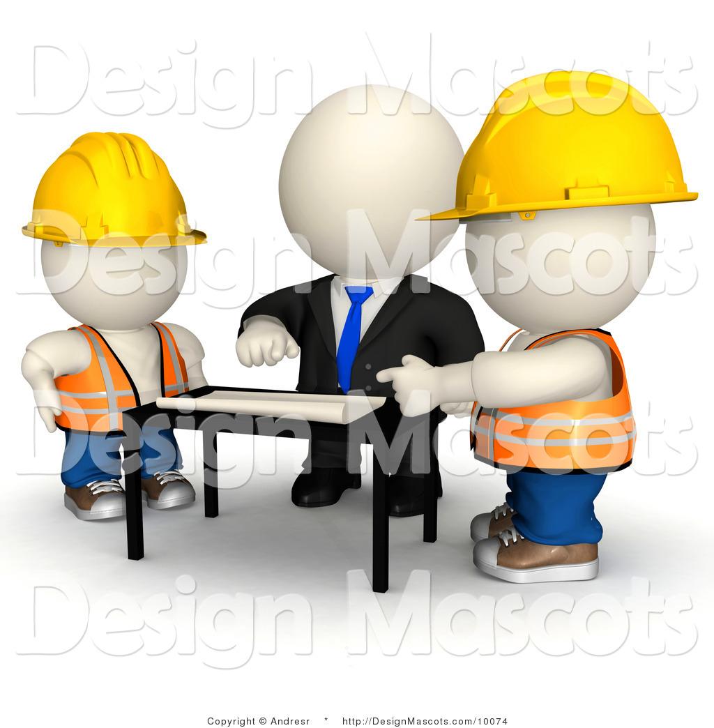 Clipart of a 3d White Businessman Mascot Discussing Building Plans ...