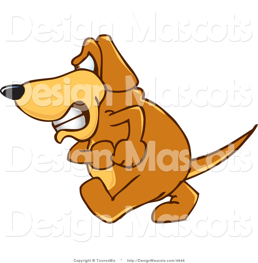 Clipart Of A Angry Brown Dog Mascot Cartoon Character Royalty