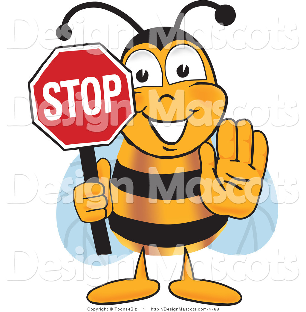 Clipart of a Bee Mascot Cartoon Character Holding Stop Sign ...