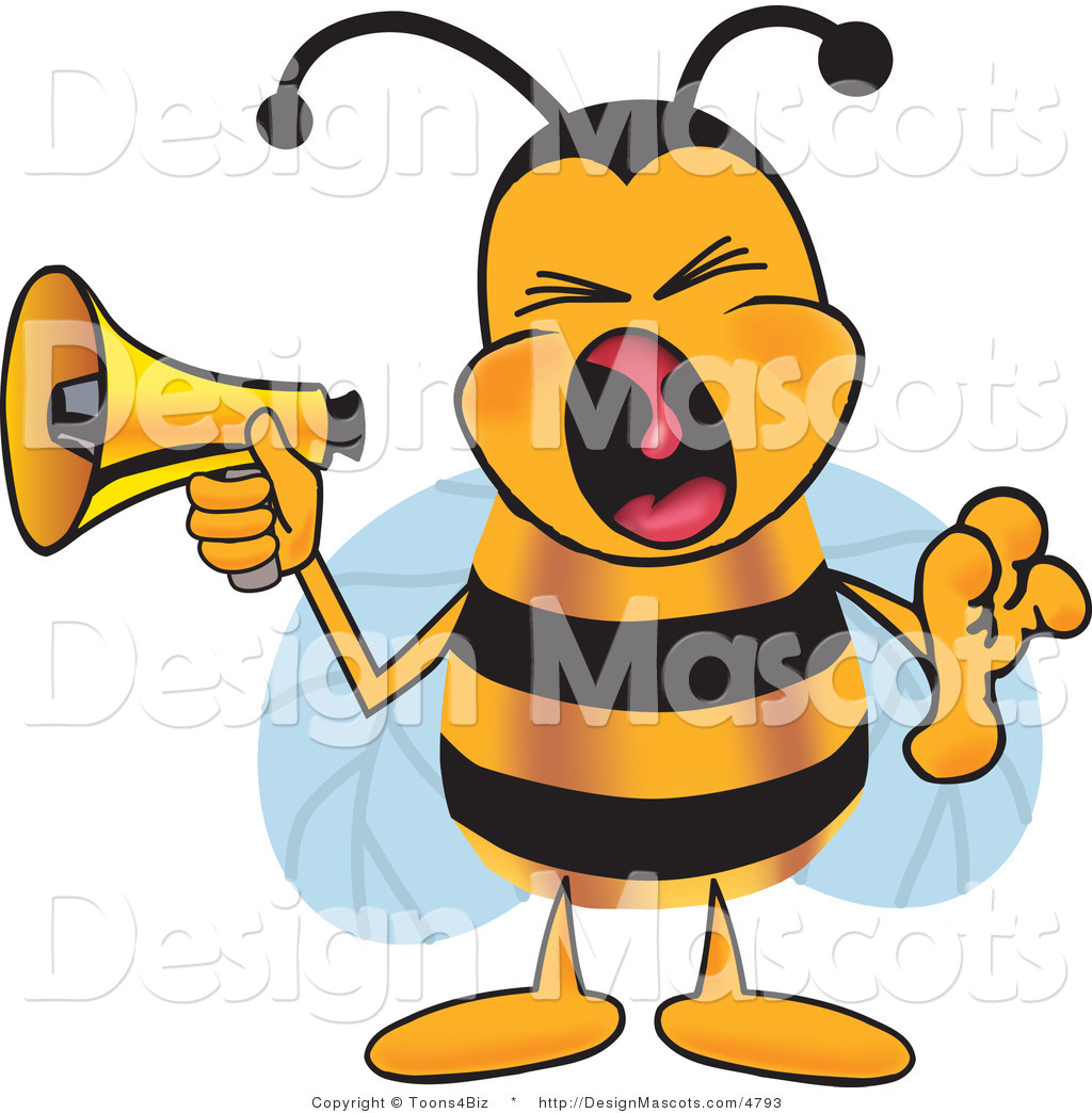 clipart of a bee mascot cartoon character screaming royalty free