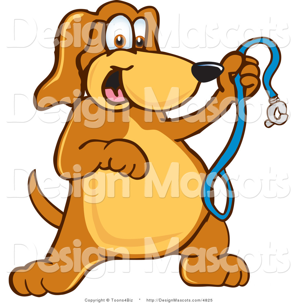 A Cartoon Character Dog : Clipart of a brown dog mascot cartoon character holding
