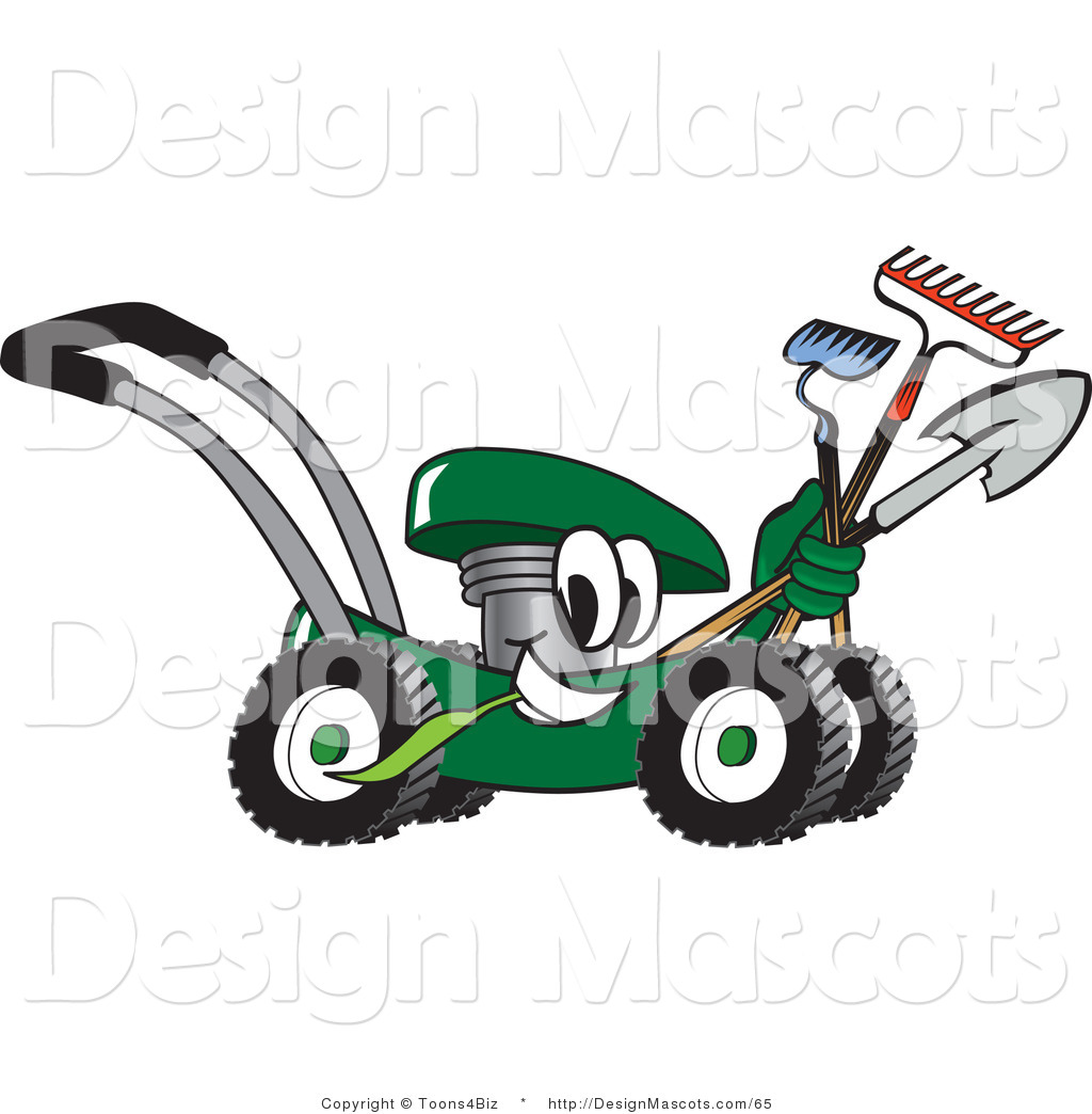 Clipart of a Green Lawn Mower - Royalty Free by Toons4Biz - #65