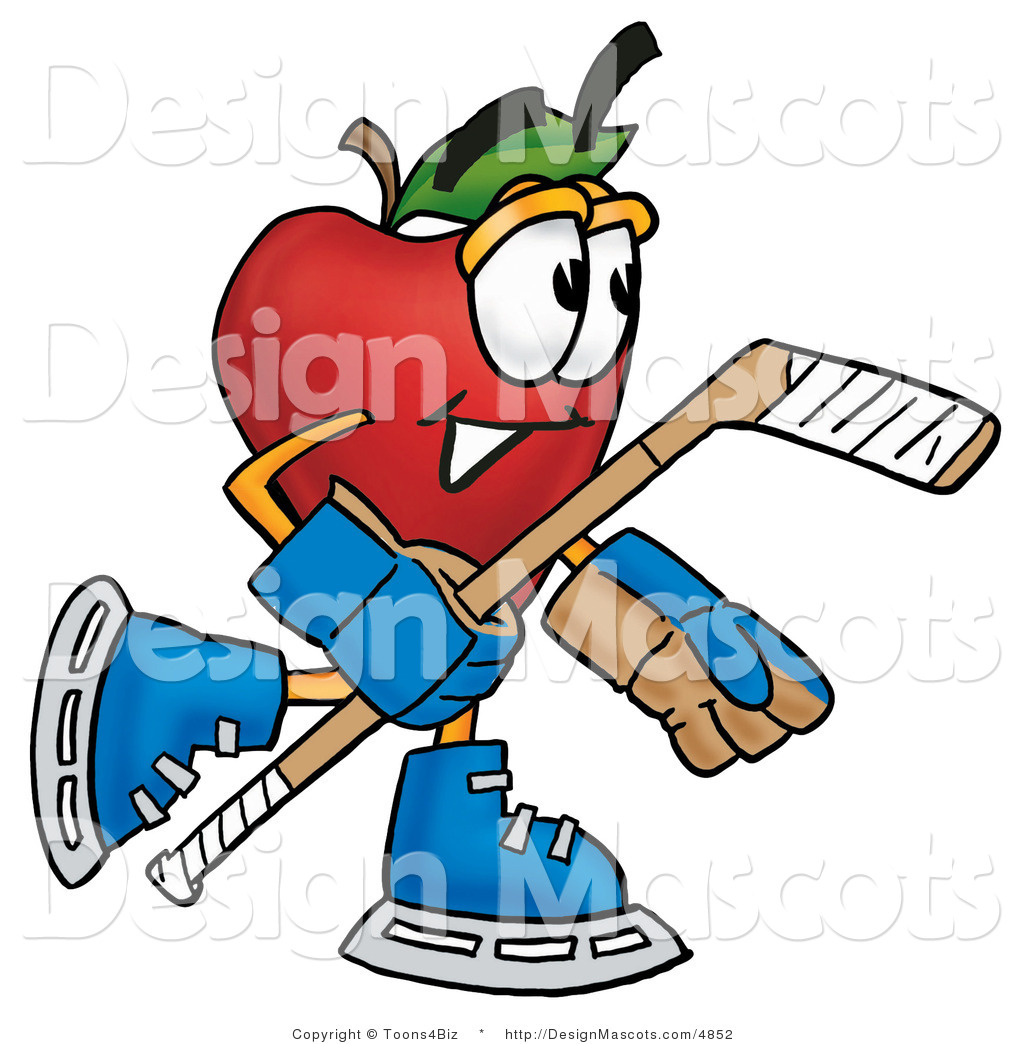Apple Character Design : Clipart of a red apple character mascot playing ice hockey