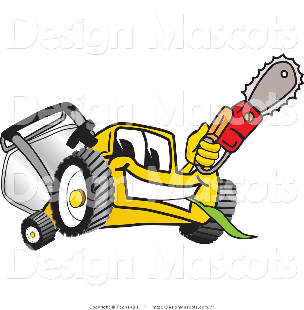 Clipart Of A Yellow Lawn Mower Mascot Holding Up A Saw Royalty Free By Toons4biz 74