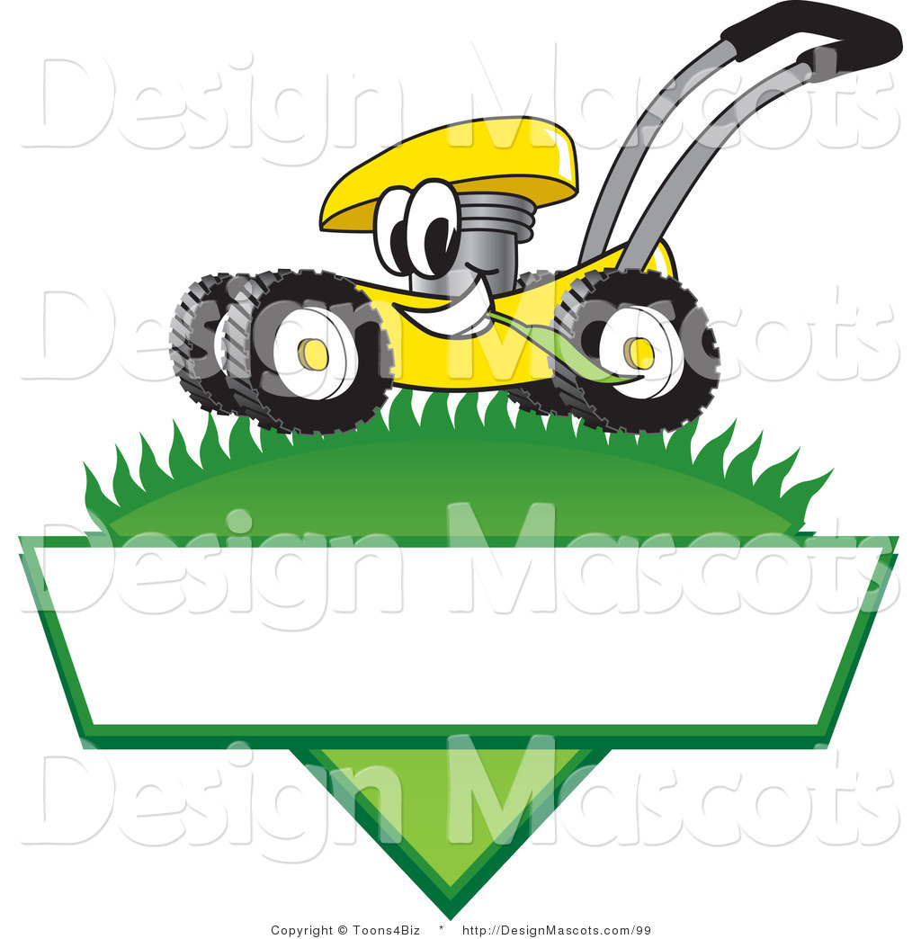 clipart of a yellow lawn mower