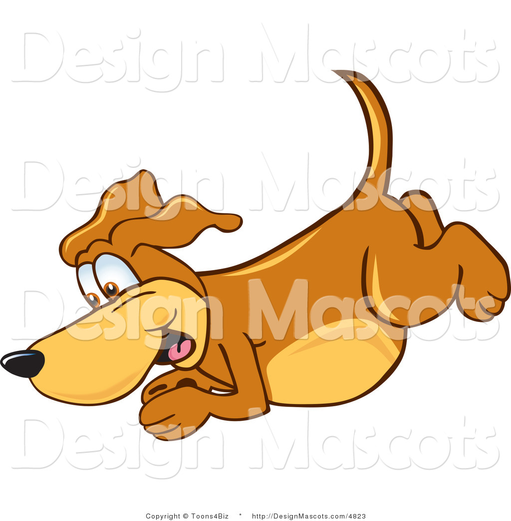 Clipart Ofbrown Dog Mascot Cartoon Character Diving Royalty Free
