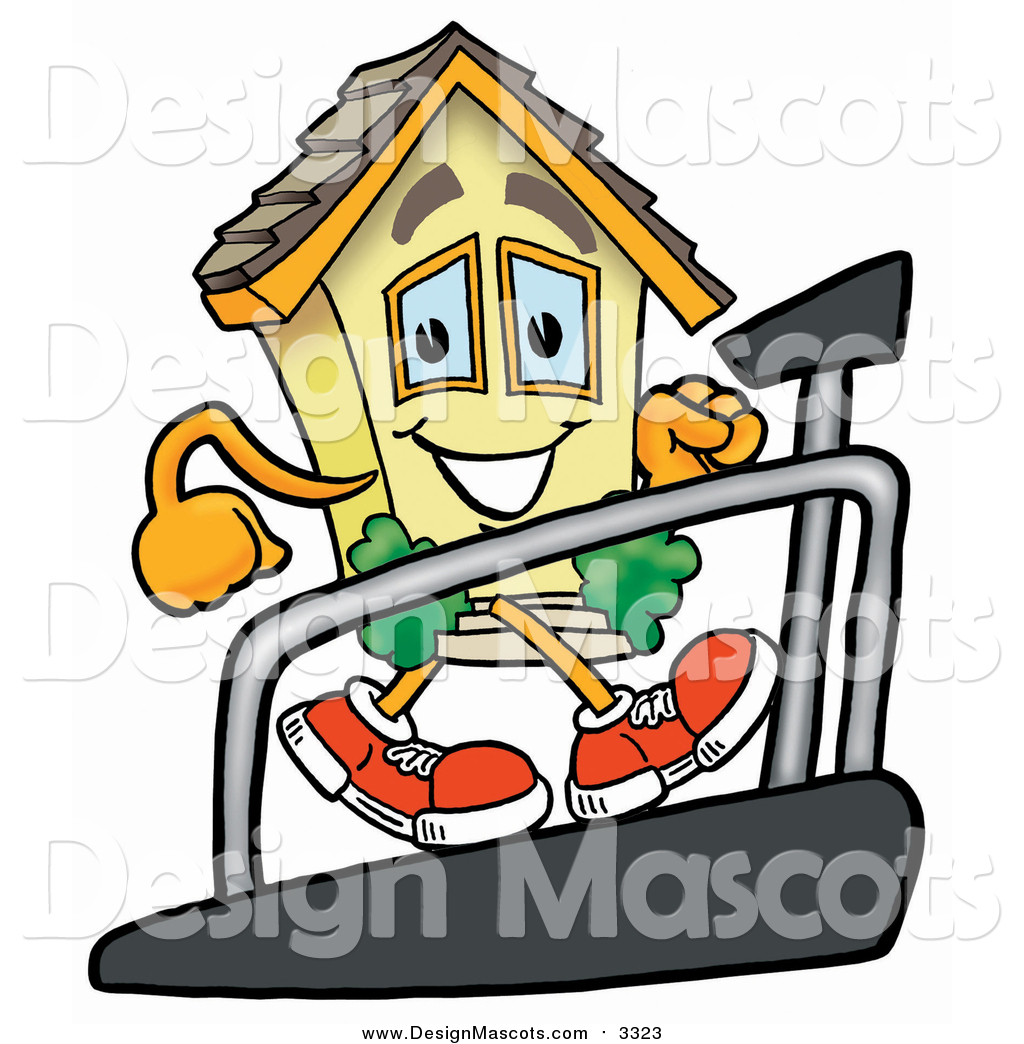 Illustration Of A House Mascot Walking On A Treadmill By