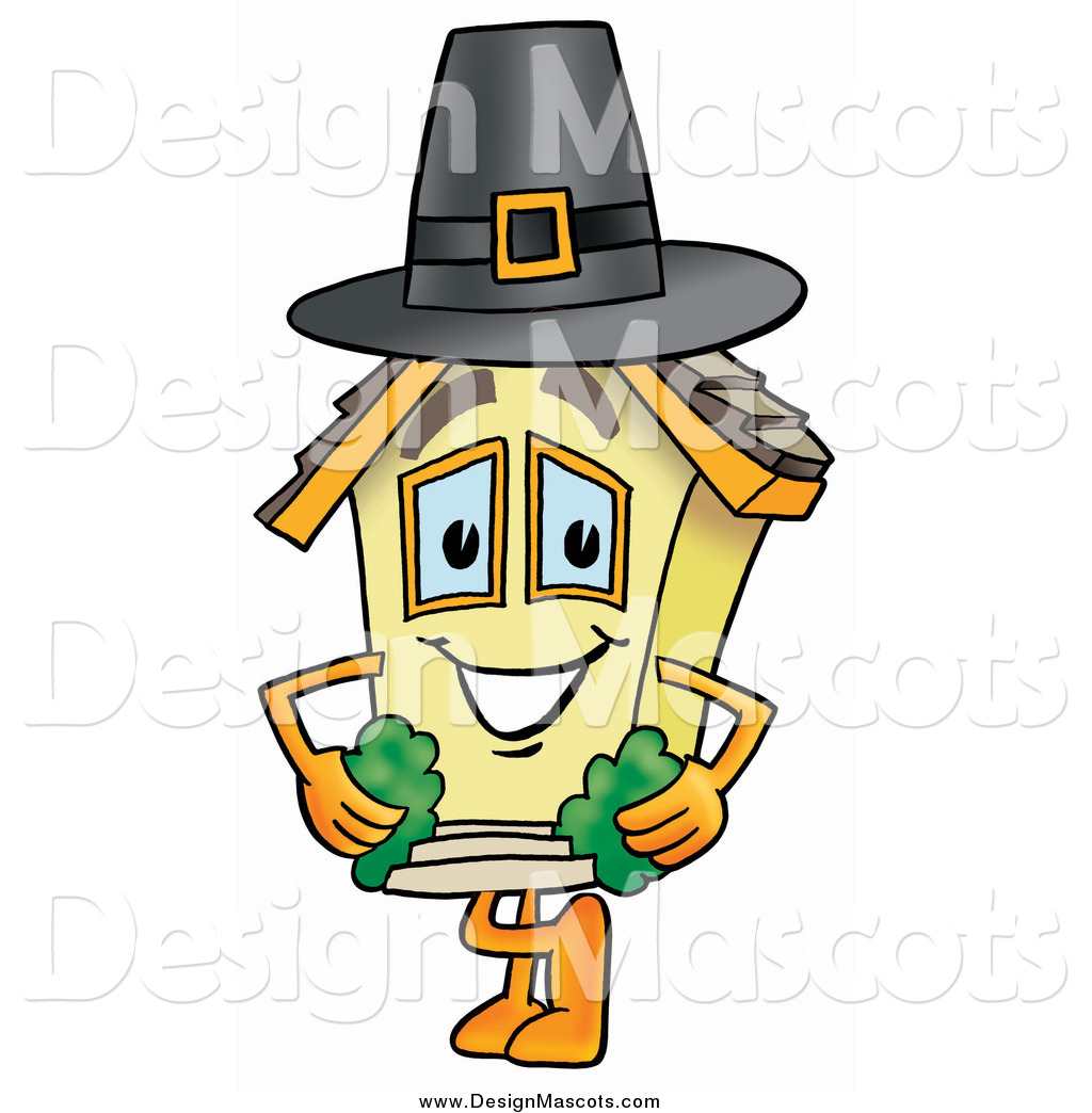 Illustration Of A House Mascot Wearing A Pilgrim Hat On