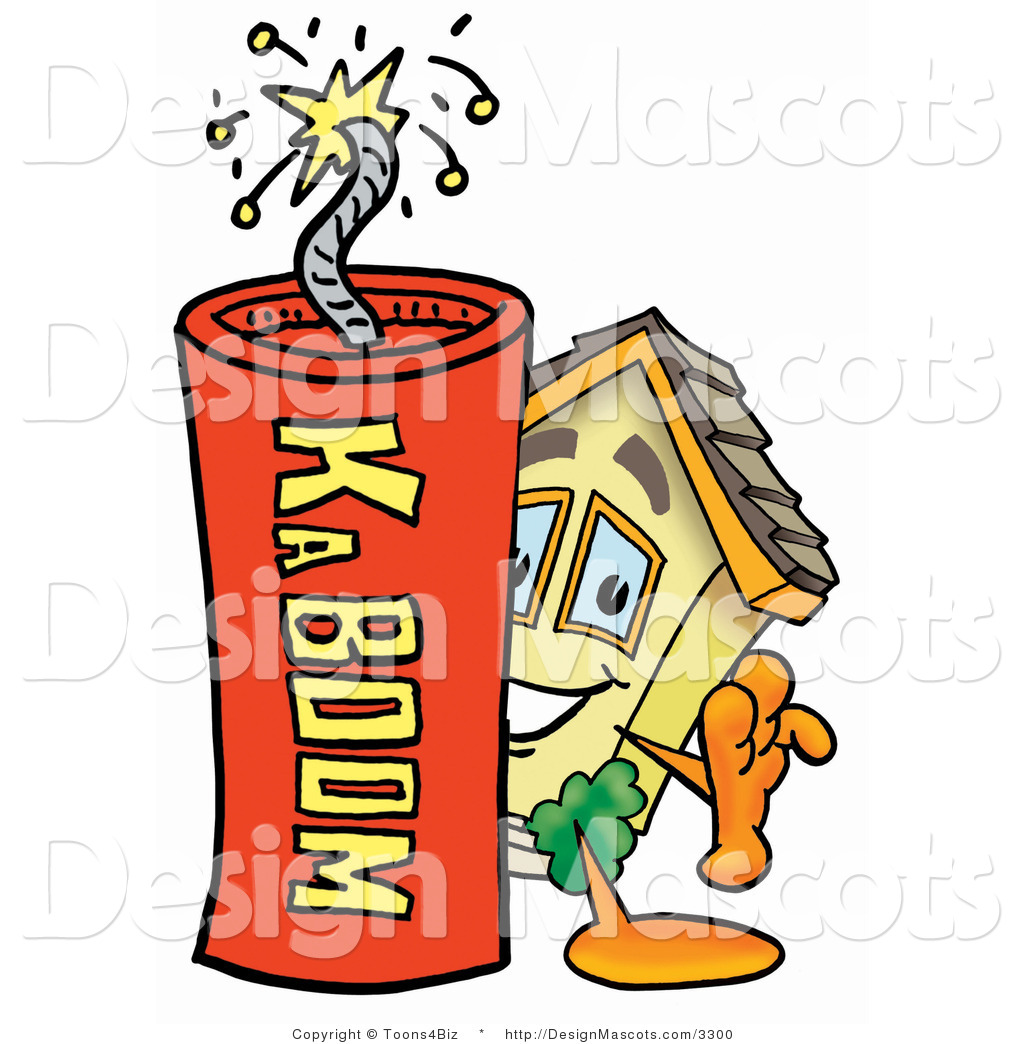 Stock Mascot Cartoon Of A House Mascot And Dynamite By