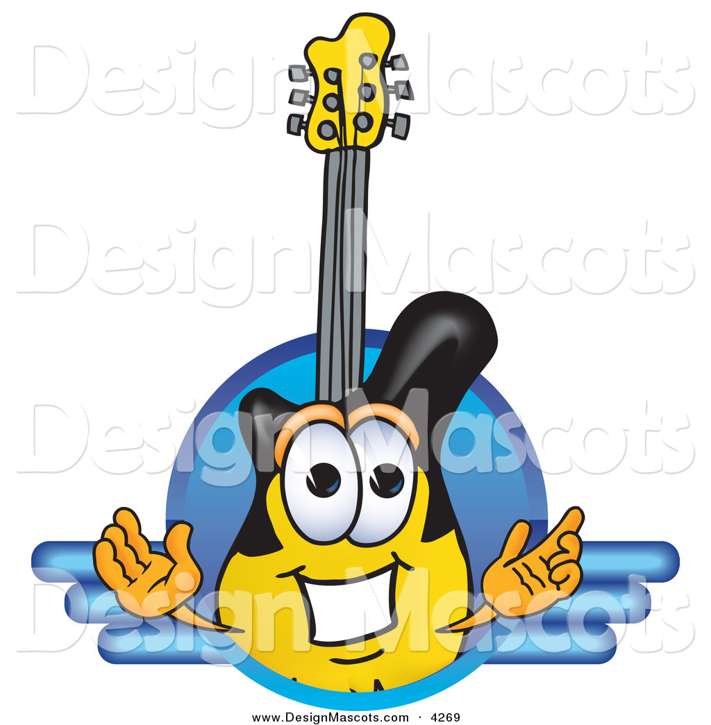 4 Cartoon Characters Wearing Black And Yellow : Stock vector mascot cartoon of a black and yellow guitar