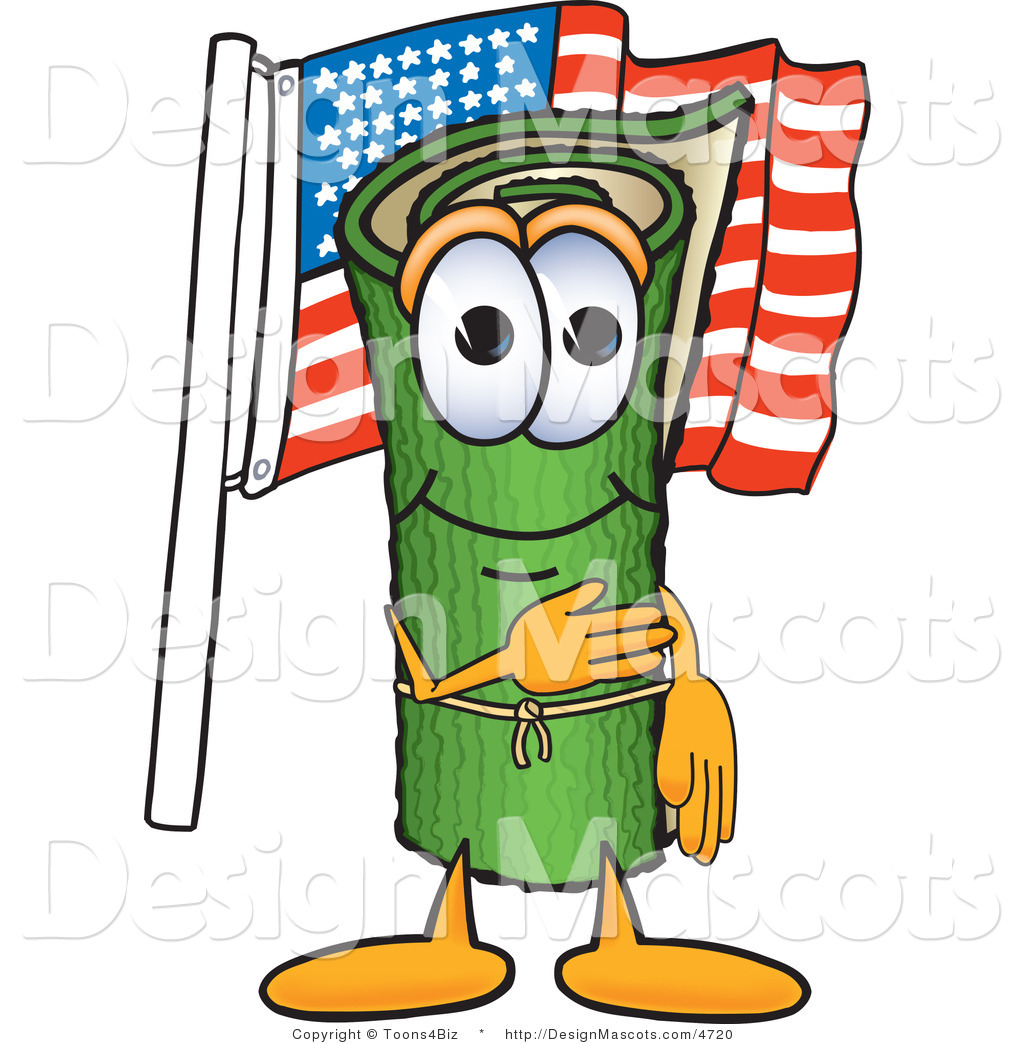 Cartoon Characters Green : Stock vector mascot cartoon of a patriotic green carpet