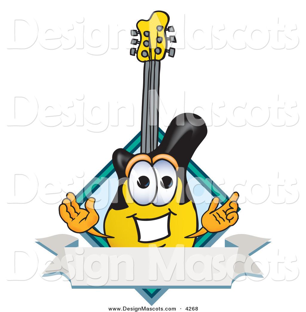 4 Cartoon Characters Wearing Black And Yellow : Stock vector mascot cartoon of a yellow and black guitar