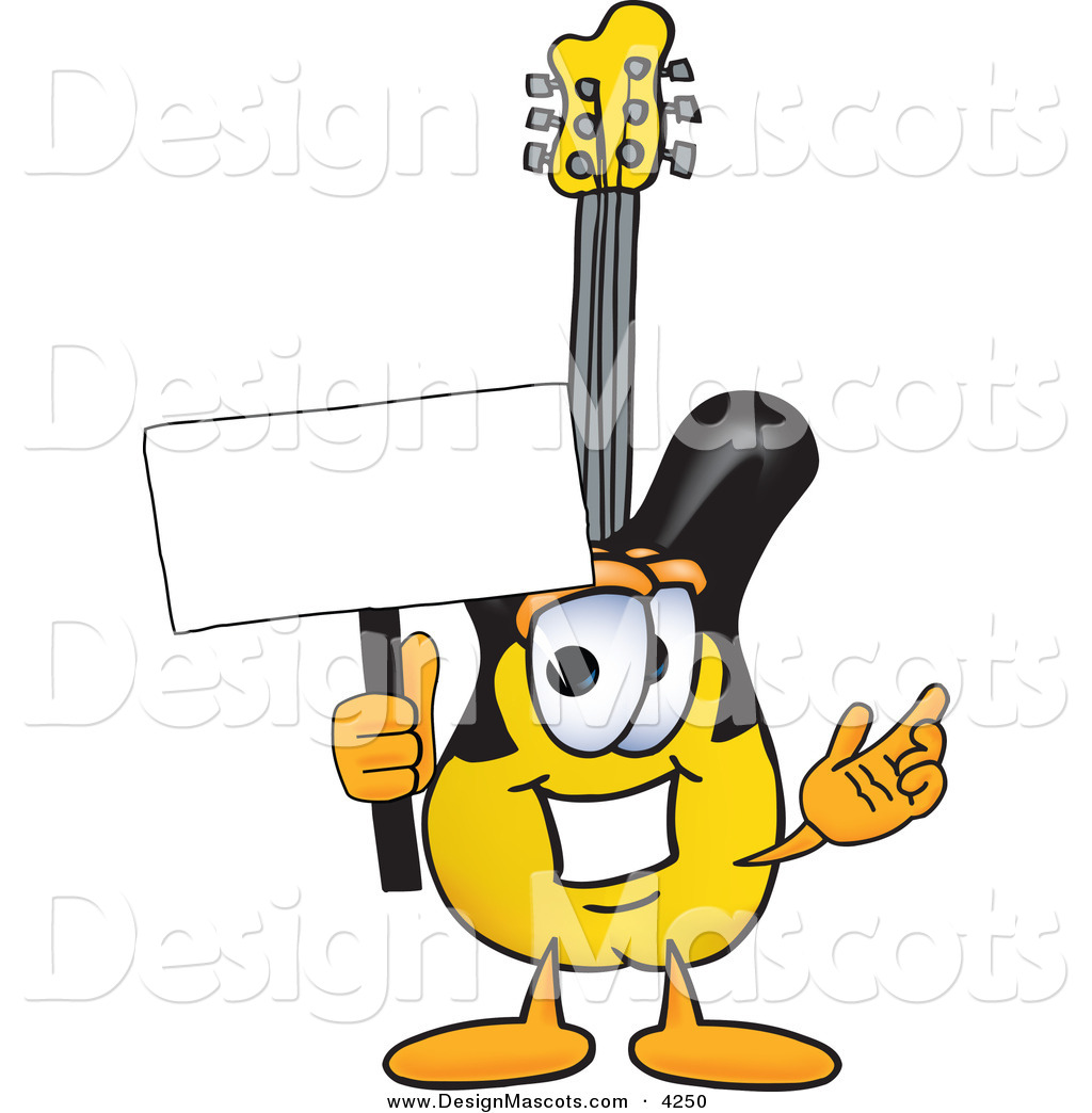 Cartoon Characters Yellow : Stock vector mascot cartoon of a yellow guitar