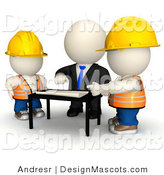 Clipart of a 3d White Businessman Mascot Discussing Building Plans with Contractors - Royalty Free by Andresr
