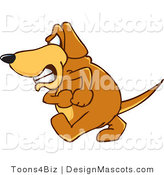Clipart of a Angry Brown Dog Mascot Cartoon Character - Royalty Free by Toons4Biz