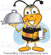 Clipart of a Bee As a Servant, Carrying a Food Platter - Royalty Free by Toons4Biz
