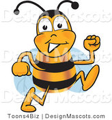 Clipart of a Bee Cartoon Character Running - Royalty Free by Toons4Biz