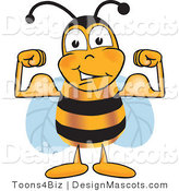Clipart of a Bee Mascot Cartoon Character Flexing His Arm - Royalty Free by Toons4Biz