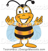 Clipart of a Bee Mascot Cartoon Character Greeting - Royalty Free by Toons4Biz