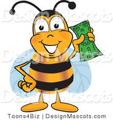 Clipart of a Bee Mascot Cartoon Character Holding a Dollar - Royalty Free by Toons4Biz