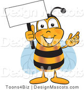 Clipart of a Bee Mascot Cartoon Character Holding a Sign - Royalty Free by Toons4Biz