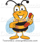 Clipart of a Bee Mascot Cartoon Character Holding a Telephone - Royalty Free by Toons4Biz