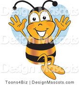 Clipart of a Bee Mascot Cartoon Character Jumping - Royalty Free by Toons4Biz