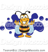 Clipart of a Bee Mascot Cartoon Character Logo - Royalty Free by Toons4Biz