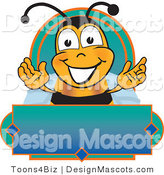Clipart of a Bee Mascot Cartoon Character on a Label - Royalty Free by Toons4Biz