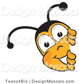 Clipart of a Bee Mascot Cartoon Character Peeking - Royalty Free by Toons4Biz
