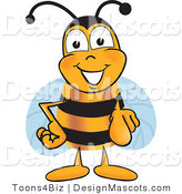 Clipart of a Bee Mascot Cartoon Character Pointing - Royalty Free by Toons4Biz