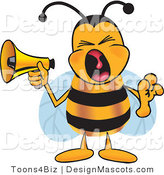 Clipart of a Bee Mascot Cartoon Character Screaming - Royalty Free by Toons4Biz