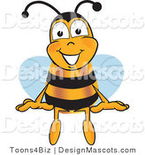 Clipart of a Bee Mascot Cartoon Character Sitting - Royalty Free by Toons4Biz