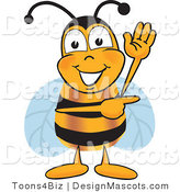 Clipart of a Bee Mascot Cartoon Character Waving and Pointing - Royalty Free by Toons4Biz