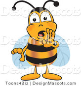 Clipart of a Bee Mascot Cartoon Character Whispering - Royalty Free by Toons4Biz