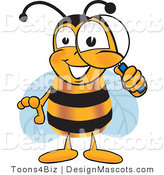 Clipart of a Bee Mascot Cartoon Character with a Magnifying Glass - Royalty Free by Toons4Biz