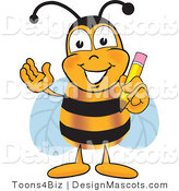 Clipart of a Bee Mascot Cartoon Holding a Pencil - Royalty Free by Toons4Biz