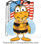 Clipart of a Bee near an American Flag - Royalty Free by Toons4Biz