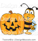 Clipart of a Bee with a Carved Halloween Pumpkin - Royalty Free by Toons4Biz