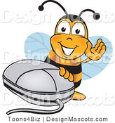 Clipart of a Bee with a Computer Mouse - Royalty Free by Toons4Biz