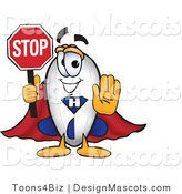 Clipart of a Blimp Cartoon Holding a Stop Sign - Royalty Free by Toons4Biz