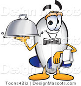 Clipart of a Blimp Mascot Cartoon Character Holding a Platter - Royalty Free by Toons4Biz