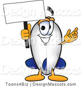Clipart of a Blimp Mascot Cartoon Character Holding a Sign - Royalty Free by Toons4Biz