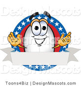 Clipart of a Blimp Mascot Cartoon Character Logo - Royalty Free by Toons4Biz