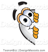 Clipart of a Blimp Mascot Cartoon Character Peeking - Royalty Free by Toons4Biz