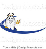 Clipart of a Blimp Mascot Cartoon in Blue Dash - Royalty Free by Toons4Biz
