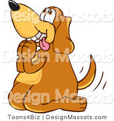 Clipart of a Brown Dog Mascot Cartoon Character Begging - Royalty Free by Toons4Biz