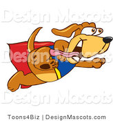 Clipart of a Brown Dog Mascot Cartoon Character Dressed As a Super Hero - Royalty Free by Toons4Biz