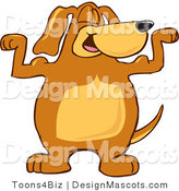 Clipart of a Brown Dog Mascot Cartoon Character Flexing - Royalty Free by Toons4Biz