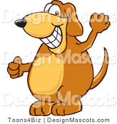 Clipart of a Brown Dog Mascot Cartoon Character Grinning - Royalty Free by Toons4Biz